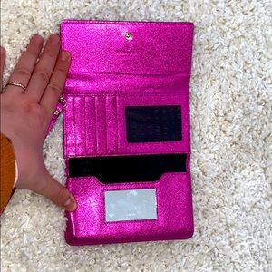 SALEKate Spade Cedar Street Metallic Pink Wristlet